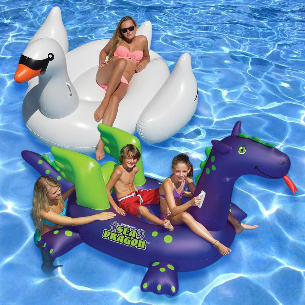 Swimline giant ride on sea dragon and white swan swimming for Pack swimming