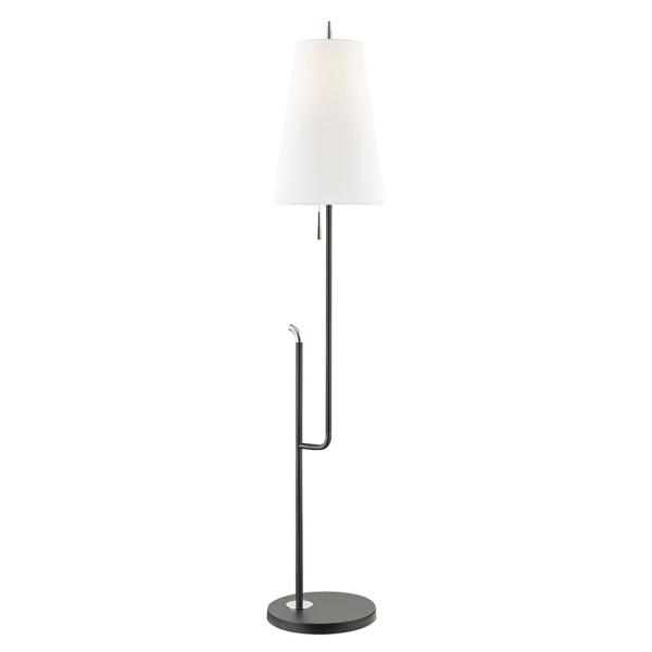 Lillian 60.5 in. 1-Light Polished Nickel/Black Floor Lamp with Off White Shade