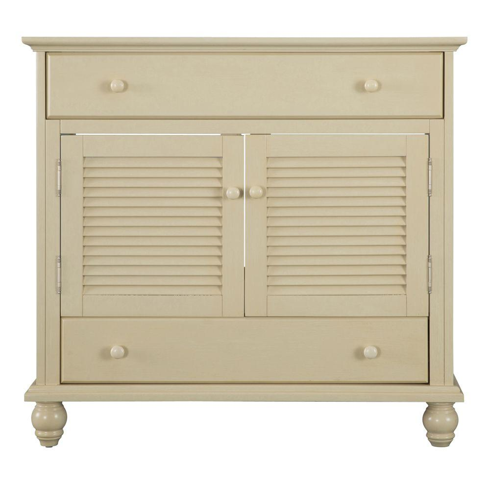 Home Decorators Collection Cottage 36 in. W Bath Vanity Cabinet Only in  Antique White - Home Decorators Collection Cottage 36 In. W Bath Vanity Cabinet Only