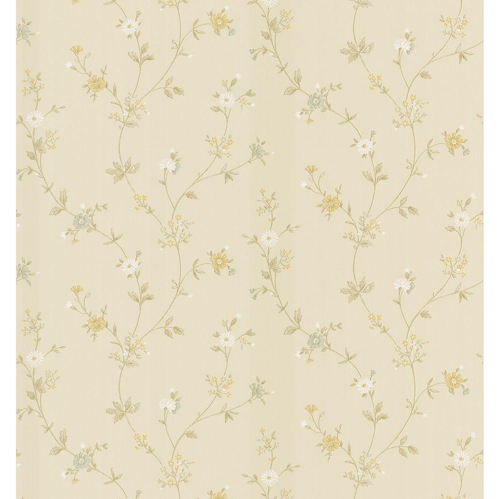 Cottage Living Cream Daisy Trail Wallpaper Sample