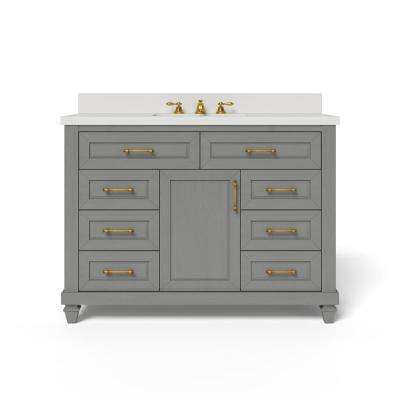 48 in. W x 34.5 in. H Bath Vanity in Antique Grey with Engineered Stone Vanity Top in White with White Basin