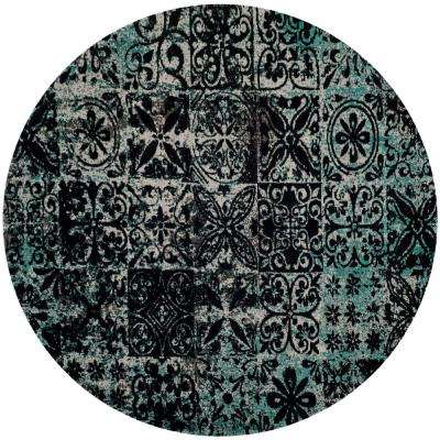 Classic Vintage Teal/Black 6 ft. x 6 ft. Round Area Rug