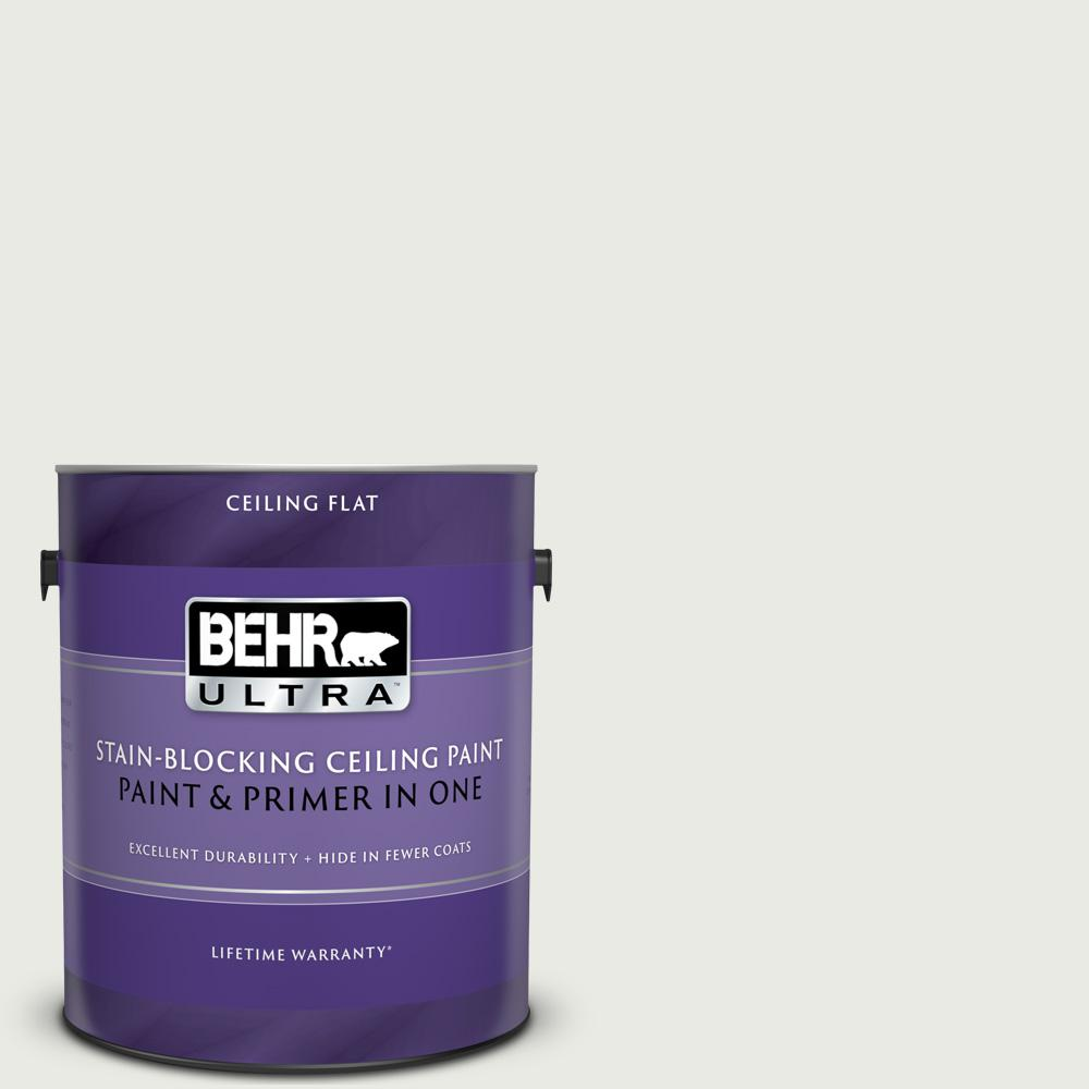 BEHR ULTRA 1 gal. #PPU12-12 Gallery White Ceiling Flat Interior Paint and Primer in One