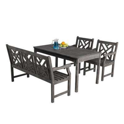 Renaissance 4-Piece Wood Rectangle Outdoor Dining Set
