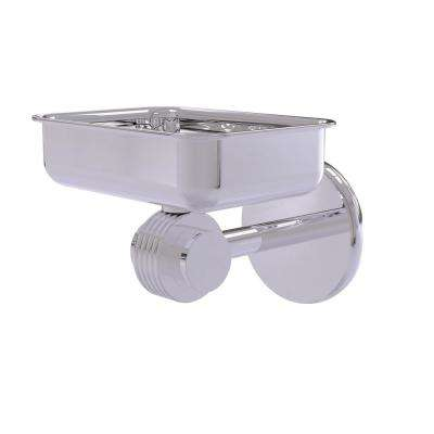 Satellite Orbit 2-Collection Wall Mounted Soap Dish with Groovy Accents in Polished Chrome
