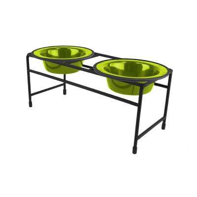 1.25 Cup Modern Double Diner Feeder with Dog/Cat Bowls, Corona Lime
