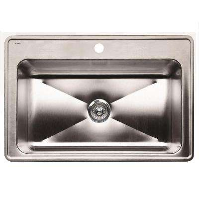 Magnum Drop-in Stainless Steel 33 in. 1-Hole Single Bowl Kitchen Sink