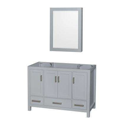 Sheffield 48 in. Vanity Cabinet with Medicine Cabinet Mirror in Gray