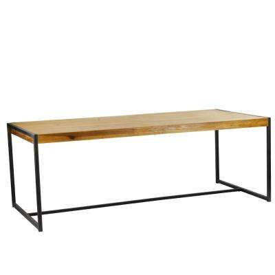 Sumatra Industrial Metal Solid Natural Teak Wood Dining Table