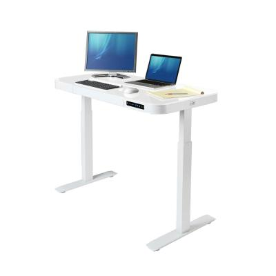 48 in. White Rectangular 1 -Drawer Standing Desk with Adjustable Height
