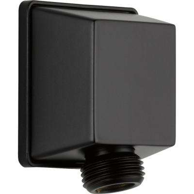 Square Hand Shower Wall Elbow in Matte Black