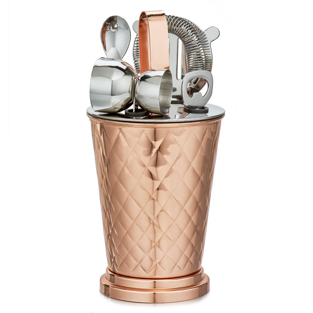 6-Piece Copper Embossed Diamond Bar Set