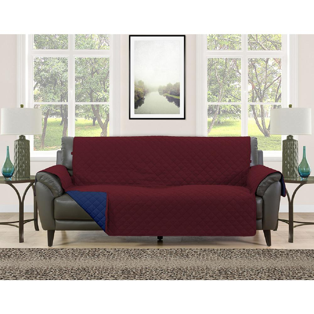 Barrett Burgundy/Navy Microfiber Reversible Couch Protector