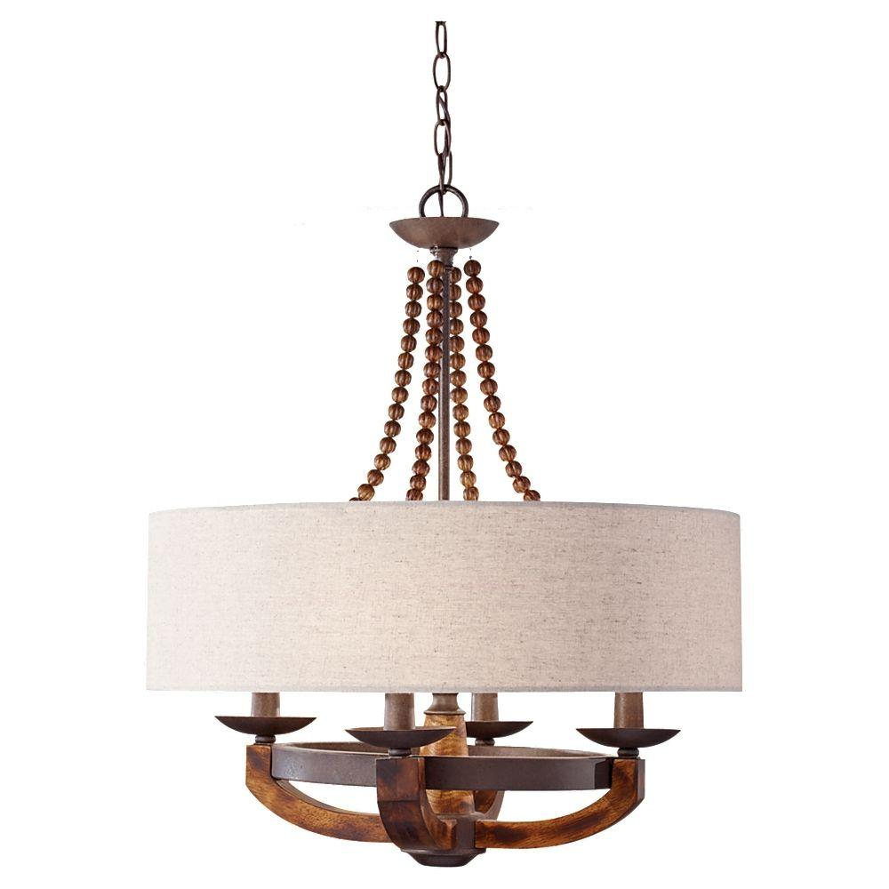W 4 Light Rustic Iron Burnished Wood Chandelier With