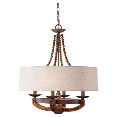 Adan 22.125 in. W 4-Light Rustic Iron/Burnished Wood Chandelier with Beige Linen Drum Shade