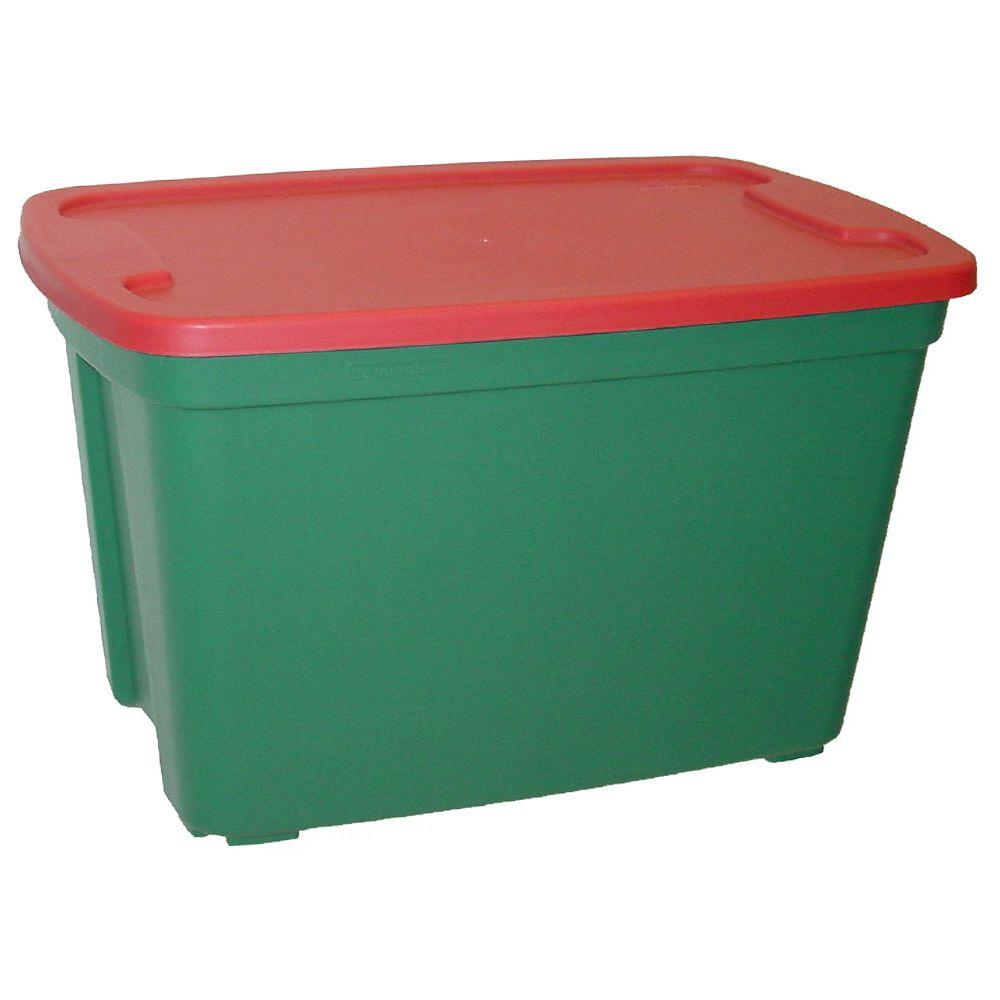 HDX 30 Gal Tote in Green Base Red Lid 2030 4452 The Home Depot
