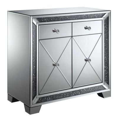 Martin Silver Hallway Cabinet with Lustrous Glass Accents
