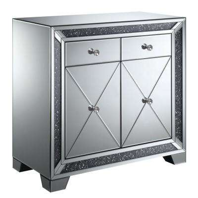 Superbe Martin Silver Hallway Cabinet With Lustrous Glass Accents