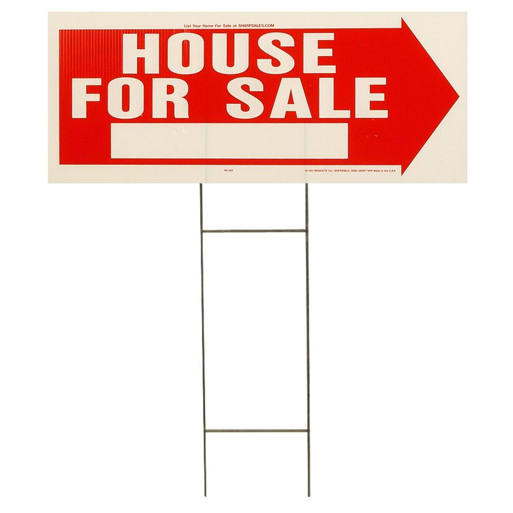 Hy Ko 10 In X 24 In Red And White Plastic House For Sale Sign
