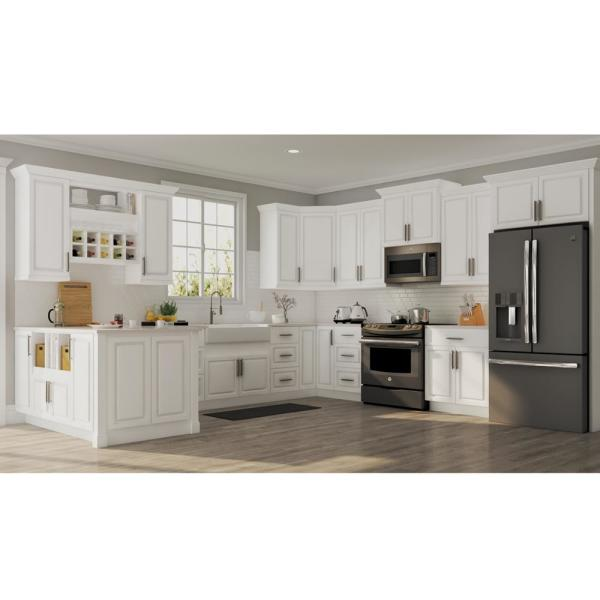 Hampton Bay Hampton Assembled 30x30x12 In Wall Kitchen Cabinet In Satin White Kw3030 Sw The Home Depot