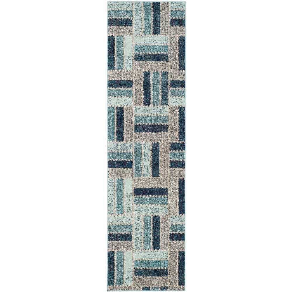 Monaco Gray/Blue 2 ft. x 8 ft. Runner Rug