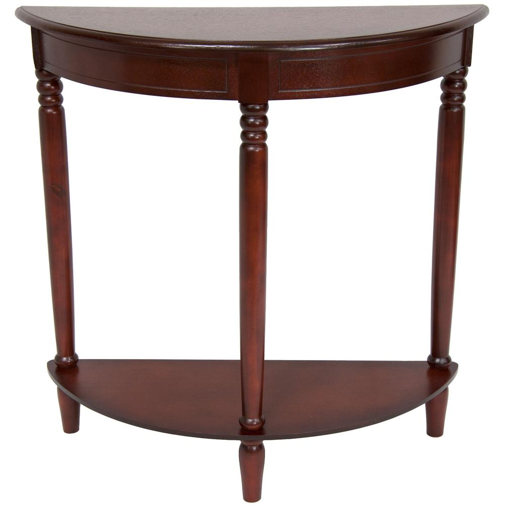 half round brown end table xa table2 cry the home depot. Black Bedroom Furniture Sets. Home Design Ideas