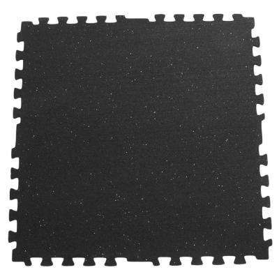 Z-Cycle Tiles 3/8 in. x 29 in. x 29 in. Black with White Speckles Interlocking Rubber Mat (6-Pack, 90 sq. ft.)