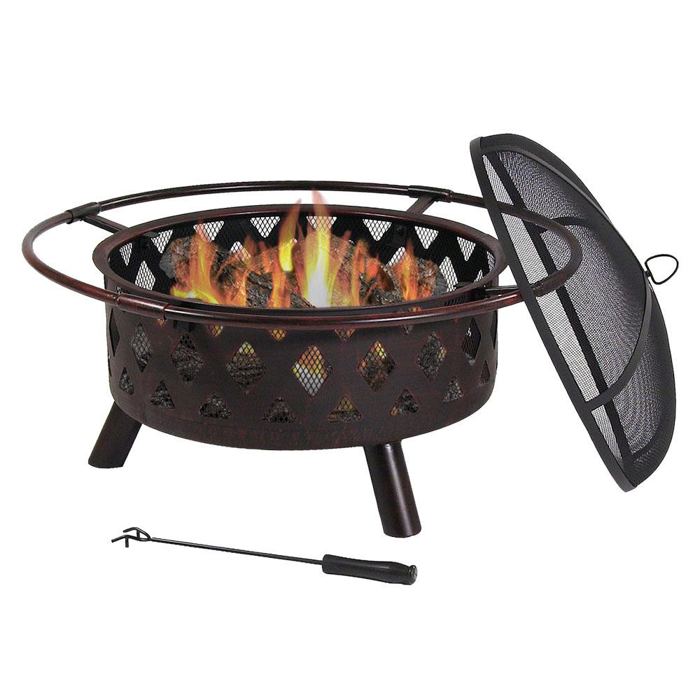 Sunnydaze Decor Cross Weave 30 in. x 20 in. Round Bronze Wood Burning Fire Pit with Steel Spark Screen