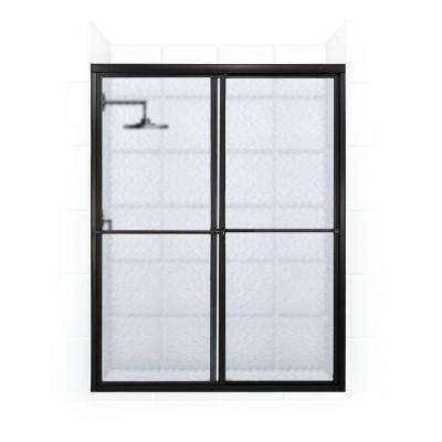 Newport Series 48 in. x 70 in. Framed Sliding Shower Door with Towel Bar in Oil Rubbed Bronze and Aquatex Glass