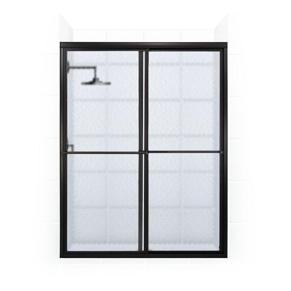 Coastal Shower Doors Newport Series 54 in. x 70 in. Framed Sliding Shower Door with Towel Bar in Oil Rubbed Bronze and Aquatex Glass