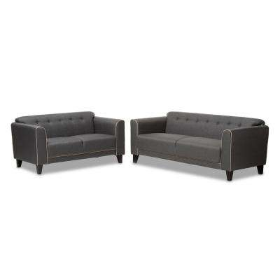 Lottie 2-Piece Gray Living Room Set
