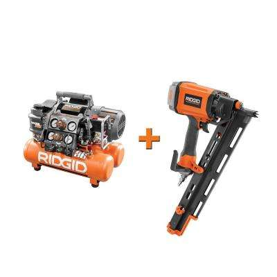 5 Gal. Portable Electric Steel Orange Air Compressor with Framing Nailer