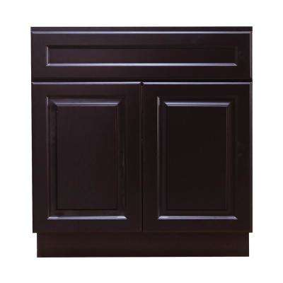 La. Newport Ready to Assemble 30x34.5x24 in. Sink Base Cabinet with 2-Door and 1-Fake Drawer in Dark Espresso