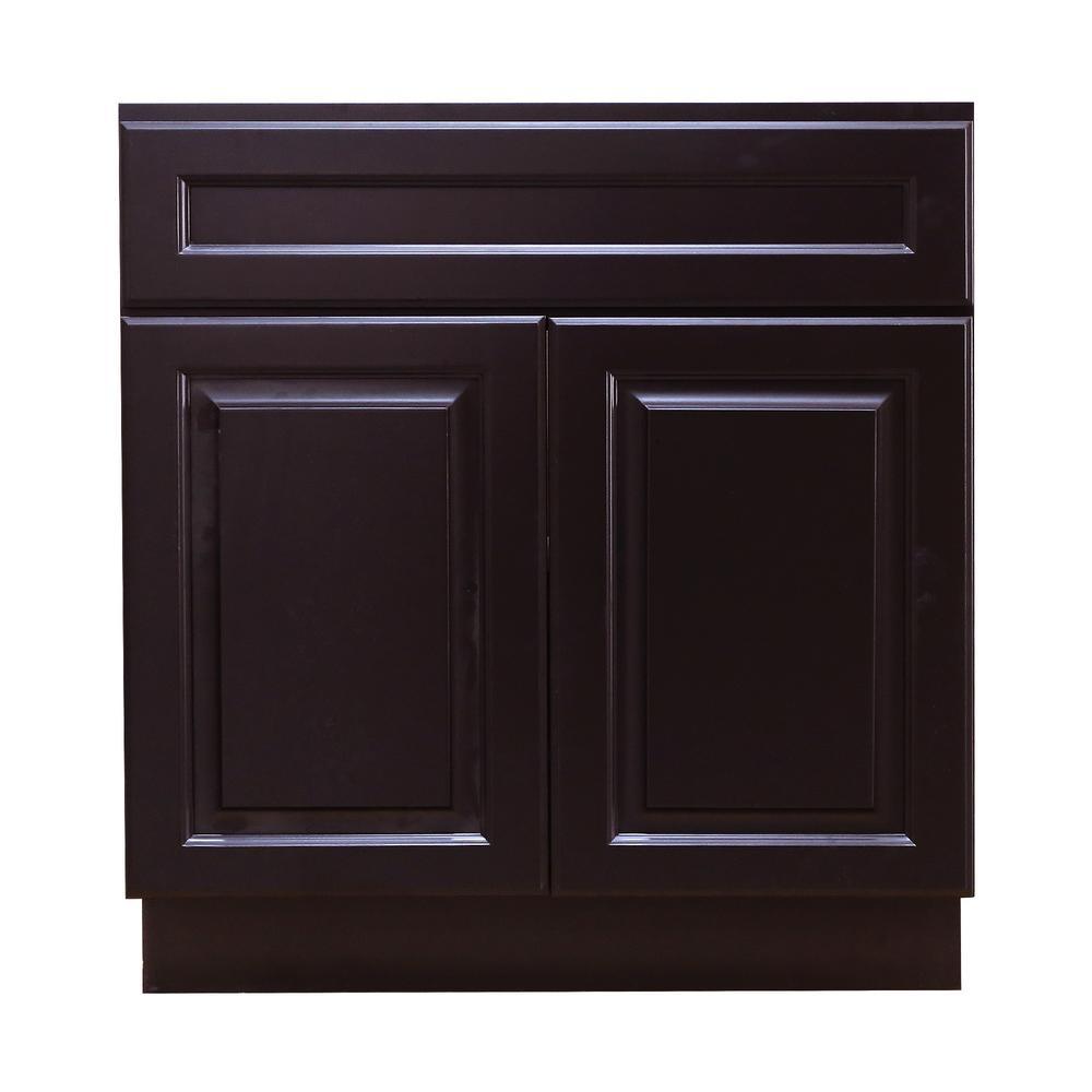 La. Newport Assembled 30 in. W x 21 in. D x 34.5 in. H Vanity Cabinet with 2-Doors in Dark Espresso