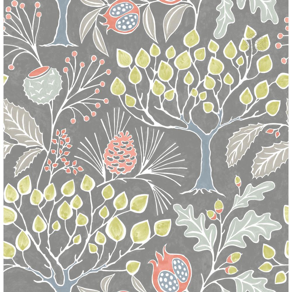 Groovy Garden Grey Multi-Color Wallpaper Sample