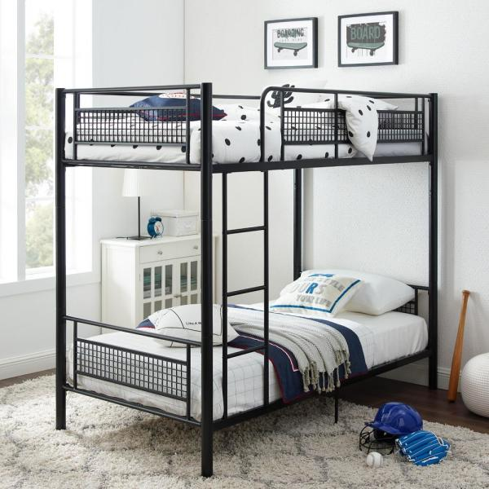 Black Twin Metal Mesh Frame Bunk Bed