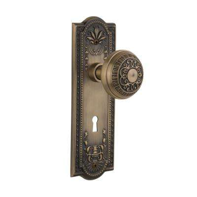 Meadows Plate Interior Mortise Egg and Dart Door Knob in Antique Brass