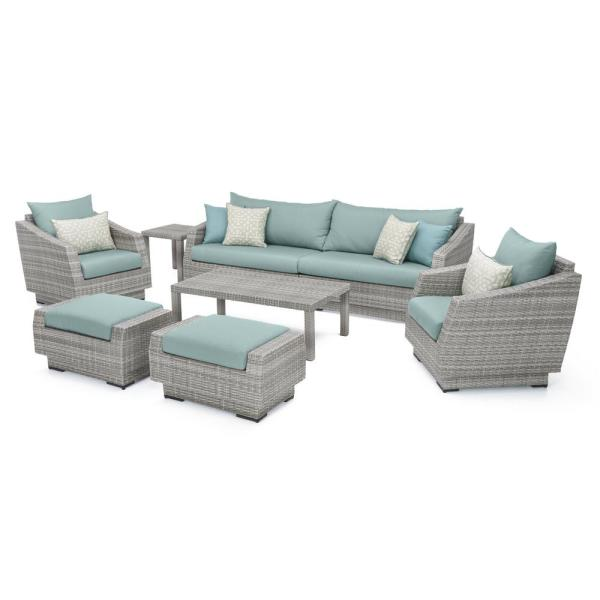Cannes 8-Piece All-Weather Wicker Patio Sofa and Club Chair Conversation Set with Spa Blue Cushions