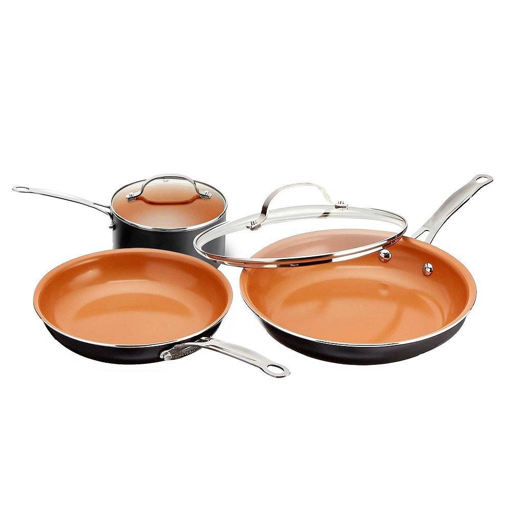 5-Piece Non-Stick Ti-Ceramic Round Cookware Set with Lids