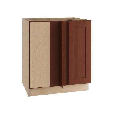 Kingsbridge Assembled 30x34.5x24 in. Single Door Hinge Left Base Kitchen Blind Corner Cabinet in Cabernet