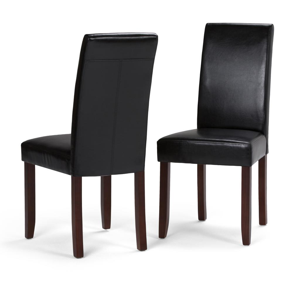 Simpli home acadian midnight black faux leather parsons for Black leather parsons chairs