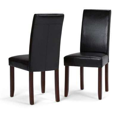 Acadian Midnight Black Faux Leather Parsons Dining Chair (Set Of 2)