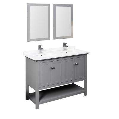 Manchester 48 in. W Bathroom Double Bowl Vanity in Gray with Quartz Stone Vanity Top in White with White Basins, Mirrors