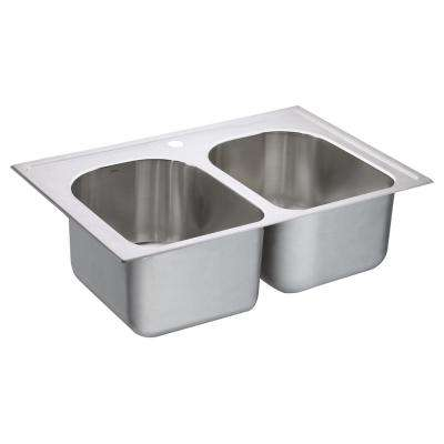 1800 Series Drop-In Stainless Steel 33 in. 1-Hole Double Basin Kitchen Sink Featuring QuickMount Hardware