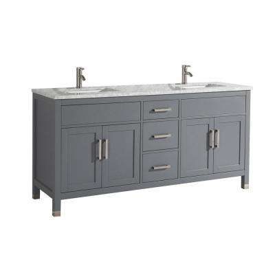 Reisa 72 in. W x 22 in. D x 36 in. H Double Vanity in Grey with Carrara Marble Vanity Top in White with White Basin