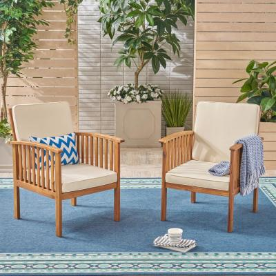 Cordoba Brown Patina Stationary Wood Outdoor Lounge Chair with Cream Cushions (2-Pack)