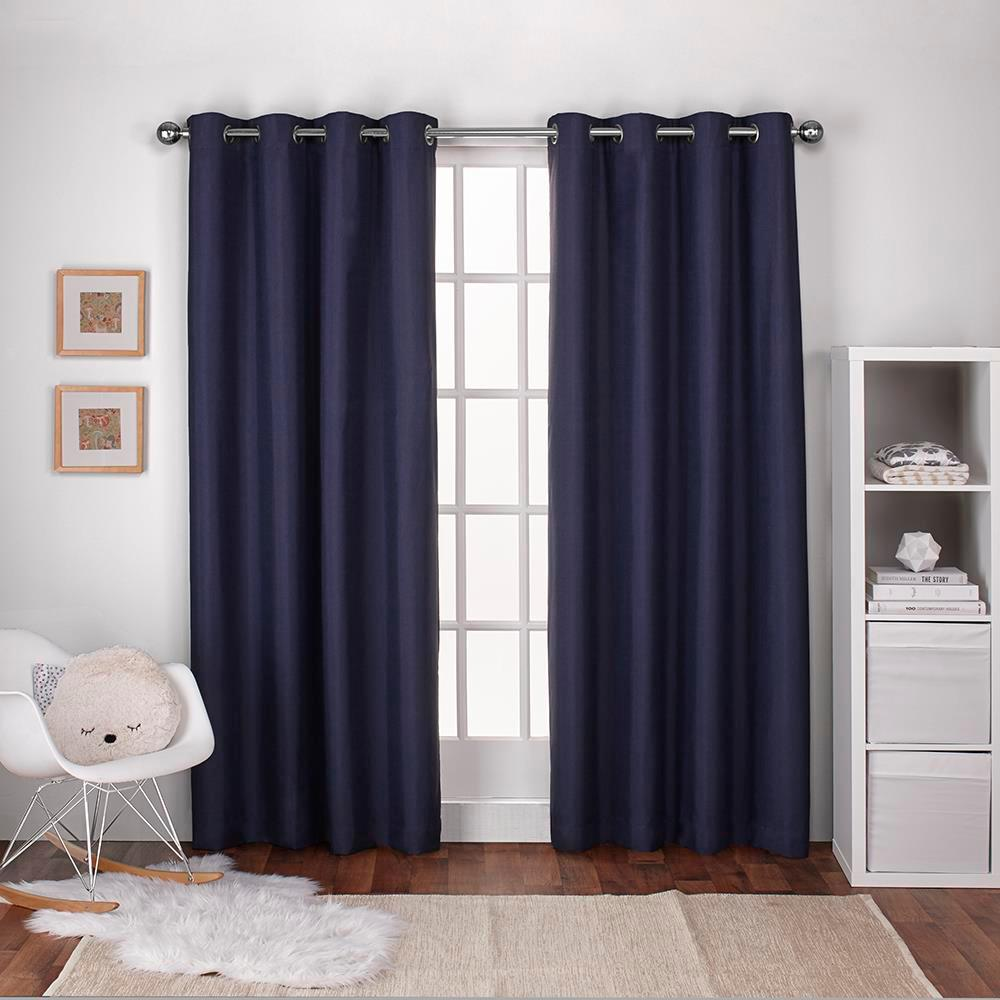 Textured linen navy blue thermal grommet top window curtain ek5318 03 2 84g the home depot