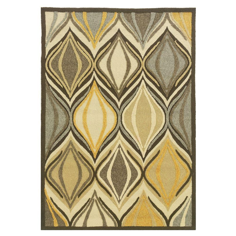 Linon Home Decor Le Soliel Collection Beige And Yellow 5 Ft X 7 Ft Outdoor Area Rug Rug Ls0857