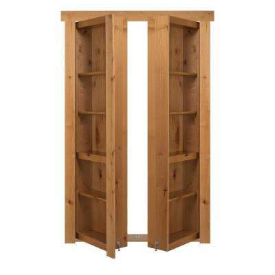 72 in. x 80 in. Flush Mount Assembled Alder Natural Stained Out-Swing Solid Core Interior French Bookcase Door