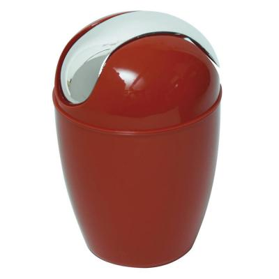 0.5 l/0.3 Gal. Mini Waste Basket for Bath or Kitchen Countertop with Chrome Lid in Red